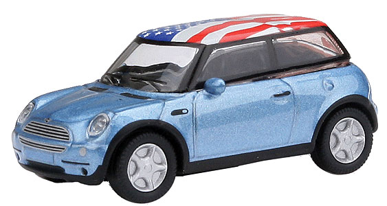 Mini Cooper Dallas >> Mini Cooper Blue, White Roof w/US Flag by Model Power ...