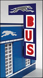 Vertical Bus Station Sign Animated Neon Billboard by