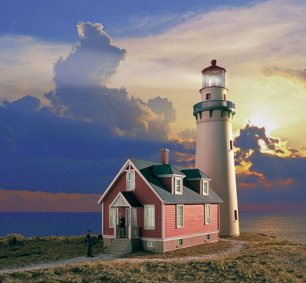 Rocky Point Lighthouse With Working Lights By Walthers