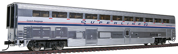 revised streamlined superliner i w plated finish coach baggage phase iv amtrak by walthers. Black Bedroom Furniture Sets. Home Design Ideas